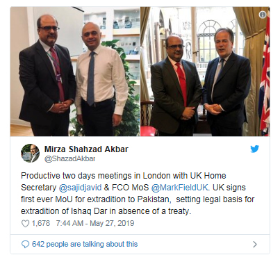 Pakistan, UK sign MoU for extradition of Ishaq Dar