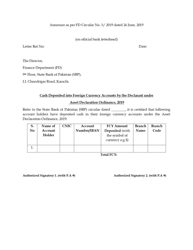 State Bank Circular regarding Assets Declaration Ordinance, 2019