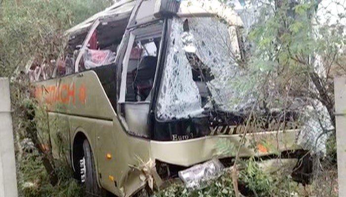 Terrible bus accident near Attock, 13 killed