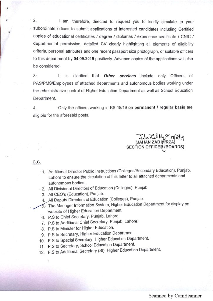 Invitation Of Application Against The Posts Of Secretaries/Controller Of Examinations, Boards Of The Intermediate And Secondary Education In Punjab