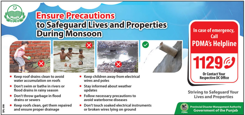 PDMA issues Monsoon Precuations