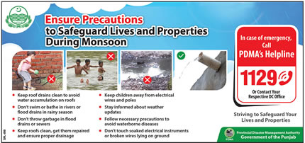 PDMA issues Monsoon Precuations