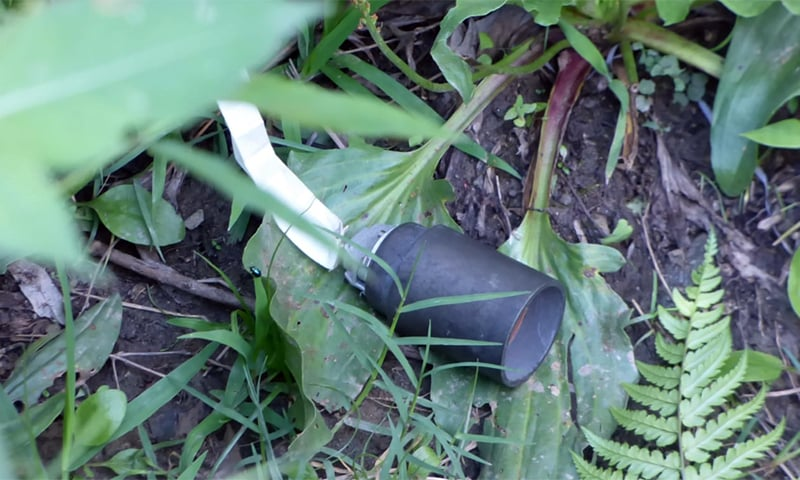A cluster bomb shell fired by Indian border troops. — Photo courtesy ISPR