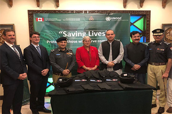 Canadian govt. gifts bullets proof vests and helmets to KP police