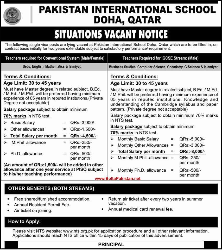 Teaching faculty required for school in Qatar